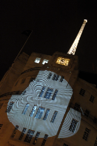 Projected Gobo onto Broadcasting House raises profile of building and introduces the Radio Theatre.